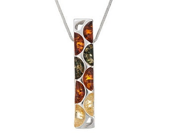 Rectangle necklace-multicolor rectangle-amber rectangle-287A