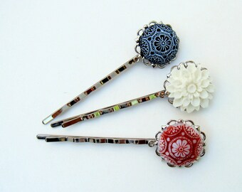 Red, Black, and White Silver Hairpins Cottage Style Shabby Chic Mothers Day Outdoor Bridal Garden, Gift for Her Jewelry