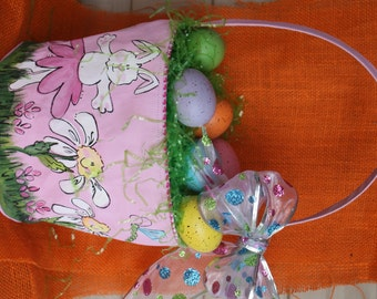 Easter Basket, hand painted, pink, bunny, ballerina