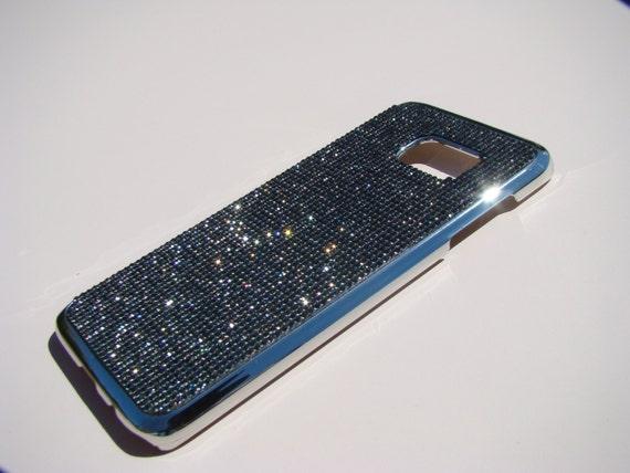 Galaxy S7 Edge Case Black Diamond Rhinestone Crystals on Silver Chrome Case. Velvet/Silk Pouch Bag Included, Genuine Rangsee Crystal Cases