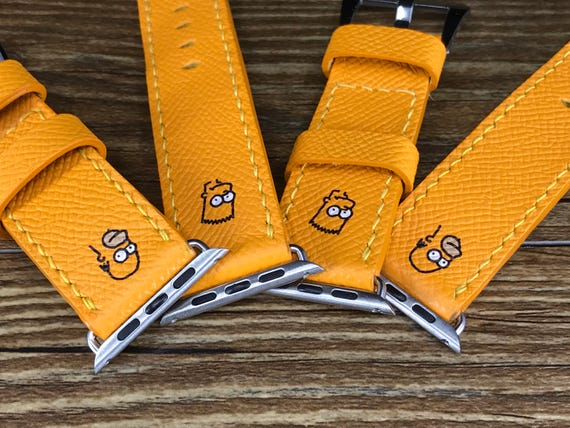 Apple Watch Band, Apple Watch 42mm, Apple Watch 38mm, Leather Watch Band, Watch Band set of 2, Epsom leather Jaune, Simpsons, FREE SHIPPING
