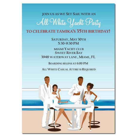 Birthday Party Yacht: African American All White Yacht Party Invitation African