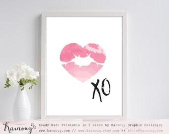 Watercolor Art Print Lips Art Print Pink Art Print Beauty Art Print Heart Art Print Instant Download Wall Art Print Minimal Poster Prints