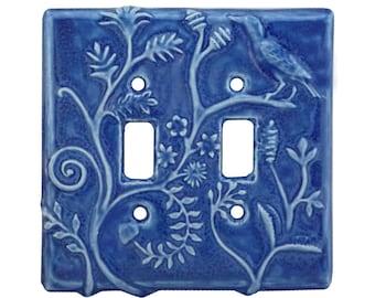 Ceramic Light Switch Cover- Persian Design Double Toggle in Sapphire Blue Glaze