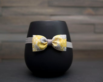 Yellow and Gray Headband, Yellow Hair Bow, Gray Hair Bow, Gray Headband, Yellow Headband, Yellow Flower Headband, Flower Girl Headband