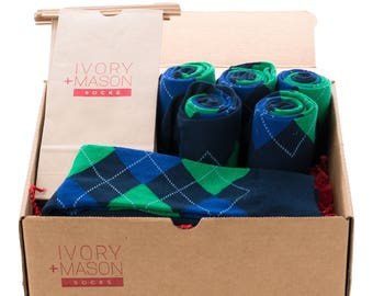 Groomsmen Socks Kit - Navy Argyle - Premium Cotton - 6 Pairs