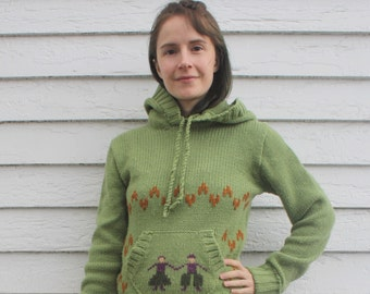 70s Green Sweater Hooded Scandinavian Folk Hippie Pullover S