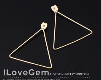 SALE/ 10pcs / NP-1654 Gold Plated, Clutch, Earnut with 34.5mm triangle, Ear back, Earring back stopper