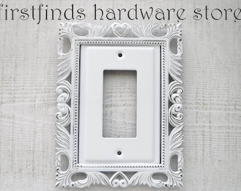 GFI Light Switch Plate Shabby Chic White Electrical Outlet Cover Framed Ornate Painted Metal Single Rocker Screws Included DESCRIPTION BELOW