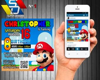 Super Mario Invitations, Super Mario Pack Party, Invitations
