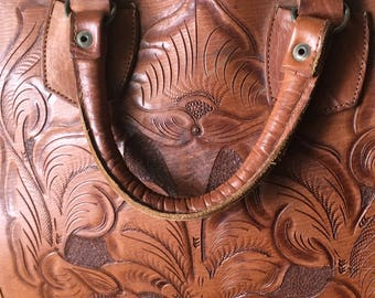 Vintage Bowling Bag Hand Tooled Rare Unique Flowers an Horse