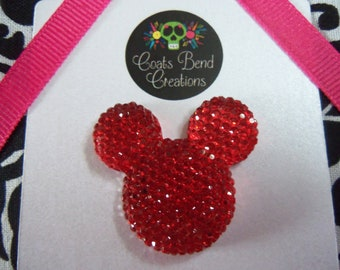 Lapel Pin~Tie Tack~Brooch~Handmade~Character inspired Mouse~Large Sparkle Red