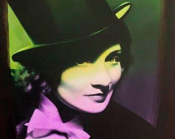 Marlene Dietrich movie original art deco artwork painting vintage actress