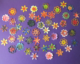 40 HAND PAINTED small assorted flowers Cards Scrapbooks Gift Tags Labels Floral theme Gardening