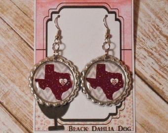 Texas A&M Aggies Inspired Glitter Bottlecap Earrings