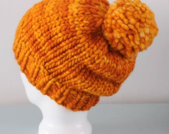 Orange Super Chunky Beanie Hat - Yellow Knitted Luxury Merino Wool Pom Pom Hat Unisex Accessory Gift for Him or Her by Emma Dickie Design