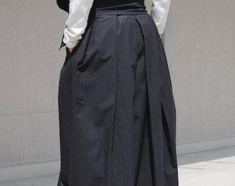 Oversize skirt, floor length, black maxi skirt, extravagant plated loose skirt, casual skirt, cotton skirt for summer, plus size gypsy skirt