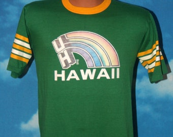 University of Hawaii Rainbows Green Ringer Tshirt Vintage 1980