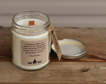 Pride & Prejudice Inspired Soy Candle - Earl Grey Tea and Almond Biscuits Scent