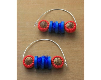 Twist Statement Earrings // Handmade • Fiber Arts • Beaded // 18003