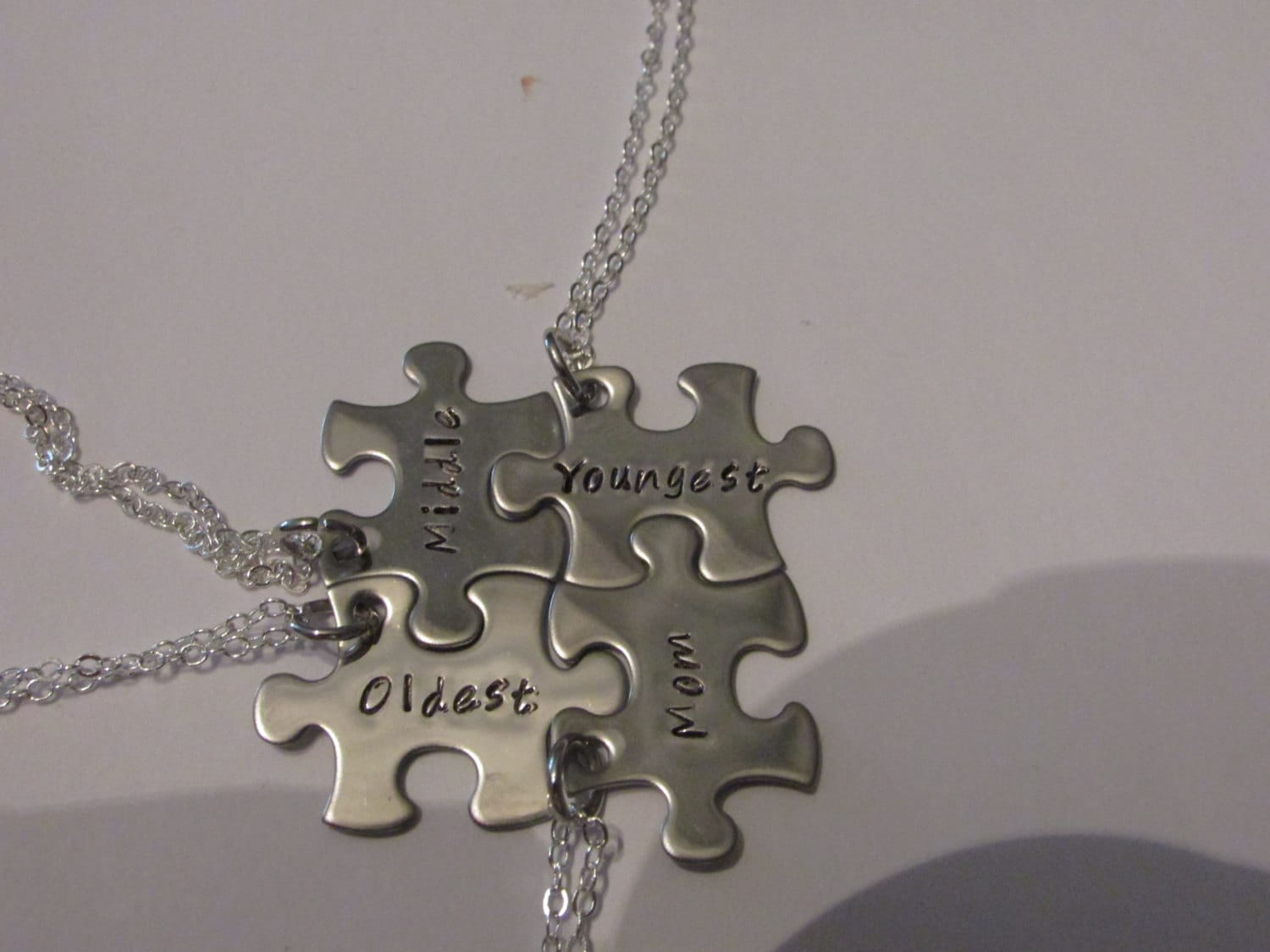 puzzle stainless necklace jigsaw steel personalised piece hers his