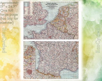 Vintage map 1960 etsy vintage atlas map 1960 france belgium netherlands national geographic gumiabroncs Image collections
