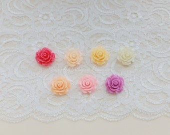 Mixed Pastel Rose Flower Cabochons Resin Flatback Roses Medium Scrapbook Supplies - 7 PCS - 20mm
