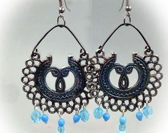Style earrings, blue, Bohemian, aged metal.