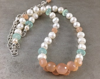 Peach Moonstone Necklace, White Freshwater Pearl Necklace, Spring Necklace, Spring Colors, Gift for Her, Gemstone Necklace