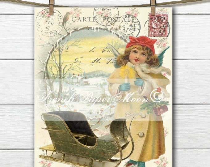 Shabby Victorian Digital Angel Winter Scene, Vintage Winter Digital French Postcard, Instant Download French Transfer Graphic Print