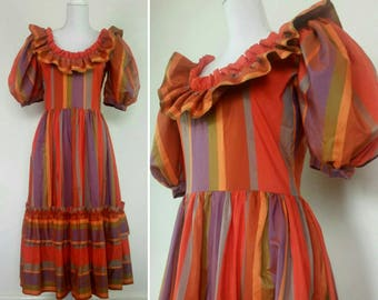 80s Anthea Crawford Limited Edition Dress Taffeta Puff Sleeves Orange stripes Party Dress