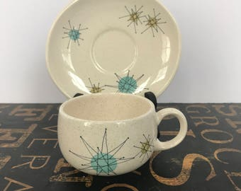 Franciscan Starburst Flat Cup & Saucers, Atomic Design, 1950s, Vintage Kitchen, Atomicware, Franciscanware, Atomic, Tea Cup and Saucer
