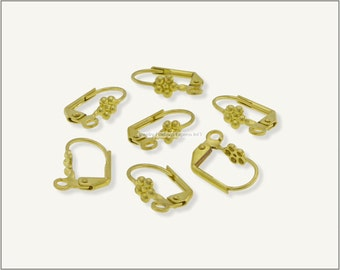 20 pc.+  Leverback Earwire with Flower - Raw Brass