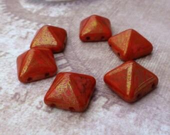 free UK postage - Pyramid Stud 12mm Two Hole Beads Coral Lumi Pecan 12 Beads