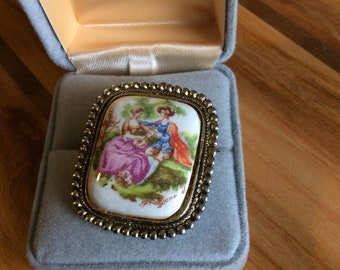 Vintage Handpainted Brooch