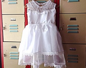White Chiffon and Lace Girls Dress