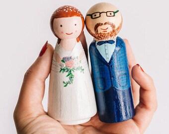 Cake Toppers for wedding. Custom Wedding Cake Topper. Wooden Cake Toppers. Wedding cake topper. Peg Doll cake topper.