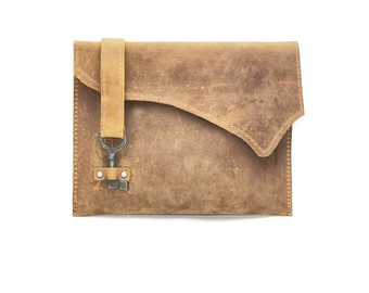 Rustic Beige Light Brown Leather Clutch with Skeleton Key Clasp - Distressed Leather Purse