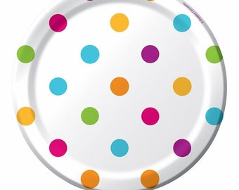 "Paper Plates 7 "" Happy Dots  Baby Shower  Eco Friendly Bright Colors  Baby Shower"