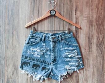 High waist vintage denim shorts 27 Waist | Ripped distressed shorts | Elephant painted aztec tribal denim | Festival bohemian hipster shorts