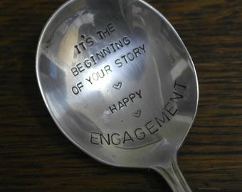 hand stamped cutlery spoon its the begining of your story happy engagment