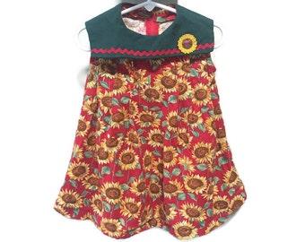 Sunflowers Dress, Toddler Girls Vintage Dress, Vintage Kids Sleeveless Dress, Baby Toddler Sun Dress, Sunflower Dress, Girls Summer Dress 2T