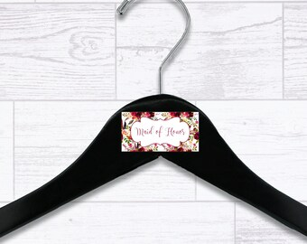 Floral Maid of Honor Wooden Hanger - Wedding Hangers - Bridal Hanger - Maid of Honor Gift - Wedding Gift - Wedding Supplies - HNGR0046