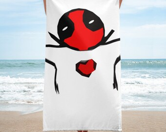 Beach Towel | Deadpool 2 Quote Inspired Painting | Hugs Not Drugs
