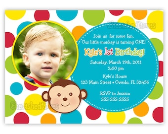 Monkey Face With Dots Birthday Party Invitation Boy or Girl (Digital File)