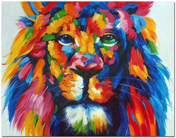 Multicolor Francoise Nielly Portraits Handmade Oil: Signed Hand Painted Impressionist Lion Oil Painting On Canvas