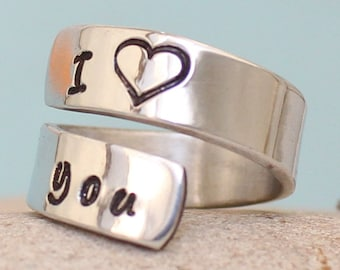 I Love You Ring - Personalized Ring - Adjustable Aluminum Wrap Ring.. Aluminum / Sterling Silver Ring