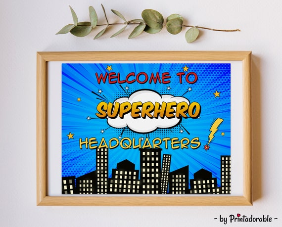 Welcome to Superhero Headquarters, Superhero Sign, Superhero Bedroom, Superhero Poster, Superhero Door Sign, Superhero HQ Sign