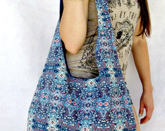 Blue Hobo Bag Purse, Boho Shoulder Bag, Fabric Tote Bag, Handbag, Hippie Bag, Bohemian Bag.