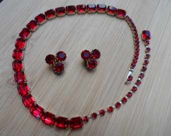 Gorgeous Weiss signed ruby-red chcker and Austria clip back earrings!